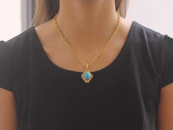 Elizabeth Locke Turquoise Scarab and Square Blue Zircon Pendant