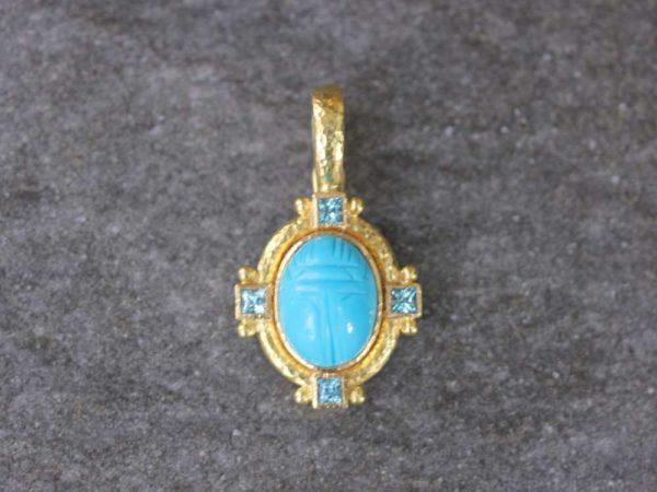 Elizabeth Locke Turquoise Scarab and Square Blue Zircon Pendant model shot #2