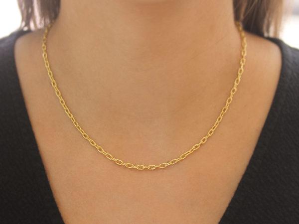 """Elizabeth Locke 17"""" Hammered """"Very Fine"""" Link Necklace"""