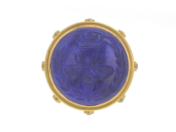 "Elizabeth Locke Lapis ""Queen Bee"" Ring with Blue Sapphire Collar and Straight Shank thumbnail"
