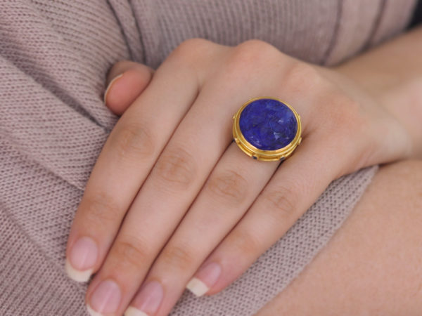 "Elizabeth Locke Lapis ""Queen Bee"" Ring with Blue Sapphire Collar and Straight Shank"