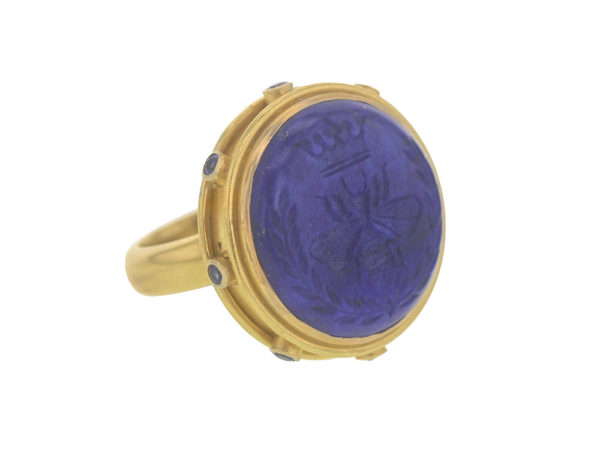 "Elizabeth Locke Lapis ""Queen Bee"" Ring with Blue Sapphire Collar and Straight Shank model shot #2"