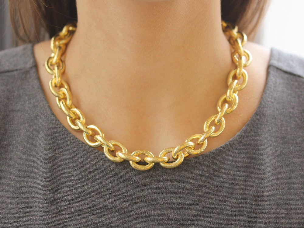 pin oval gold necklace from link s links large range chain long rose pomellato