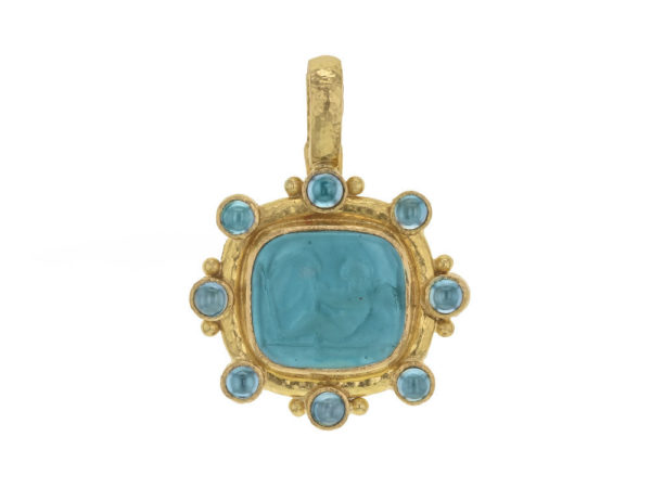 "Elizabeth Locke Teal Venetian Glass Intaglio ""Cherub with Sail"" Pendant With Round Blue Zircon thumbnail"