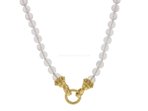 "Elizabeth Locke 17″ ""Allegra"" Clasp Necklace With 7mm Cabochon Moonstone Beads"