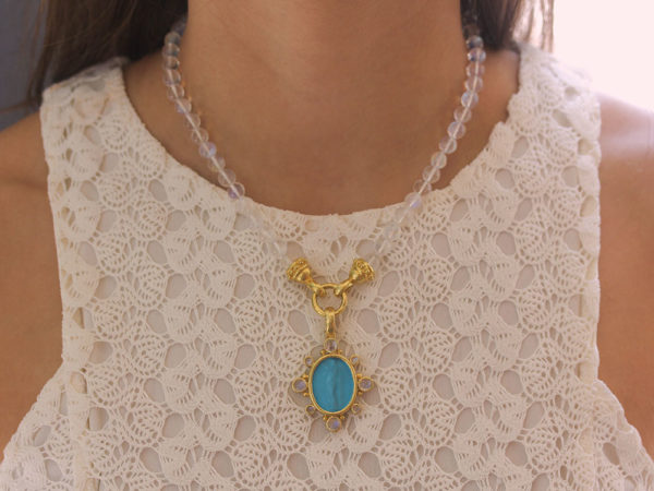 "Elizabeth Locke Swimming Pool Venetian Glass Intaglio ""Goddess with Column"" Oval Pendant with Cabochon Moonstones"