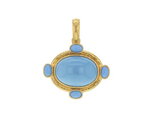 Elizabeth Locke Horizontal Oval Turquoise Pendant