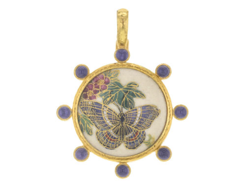 "Elizabeth Locke Antique Satsuma Porcelain ""Butterfly"" Button Pendant With Round Cabochon Iolites"