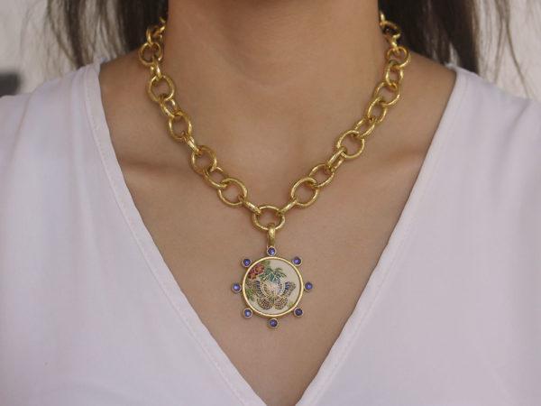 "Elizabeth Locke Antique Satsuma Porcelain ""Butterfly"" Button Pendant With Round Cabochon Iolites"