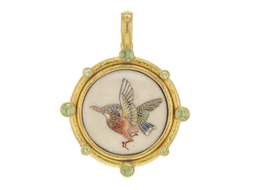 """Elizabeth Locke Antique Satsuma Porcelain """"Pink-Breasted Kingfisher"""" Button Pendant With Alternating Round Cabochon Peridots & Faceted Chrysoberyl"""