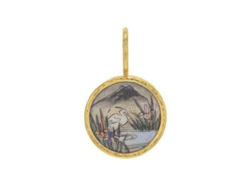 "Elizabeth Locke Antique Satsuma Porcelain ""Bird"" Button Pendant With Thin Bezel and Jump Ring"
