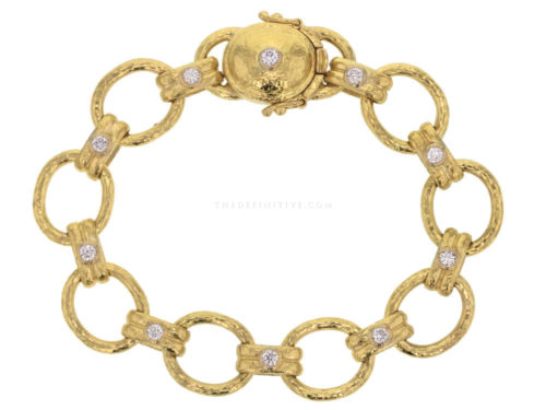 "Elizabeth Locke Diamond ""Rimini"" Link Bracelet with Diamond Box Clasp"