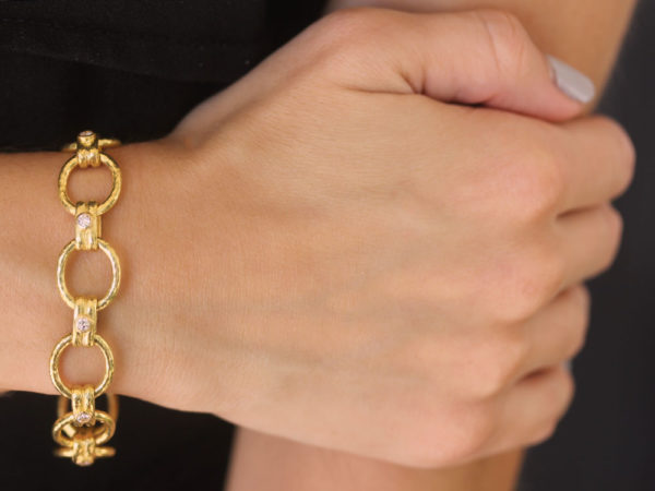 "Elizabeth Locke Diamond ""Rimini"" Link Bracelet with Diamond Box Clasp"