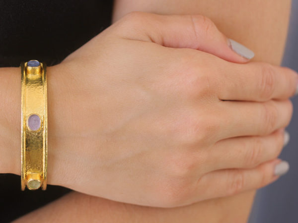 "Elizabeth Locke Pastel Venetian Glass Intaglio ""Micro Horse"" Bangle Bracelet with Six Intaglios"