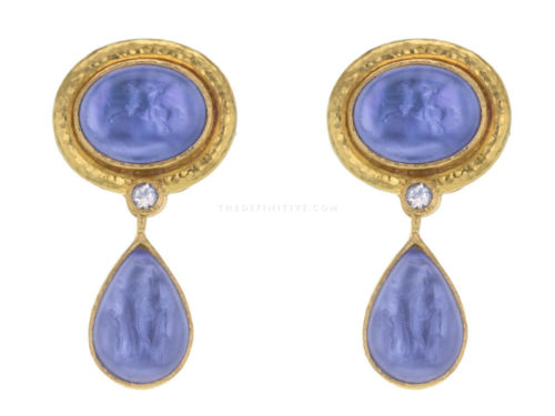 "Elizabeth Locke Cerulean Venetian Glass Intaglio ""Cab Equestrian"" Earrings with Removable Pear Shape Drop"