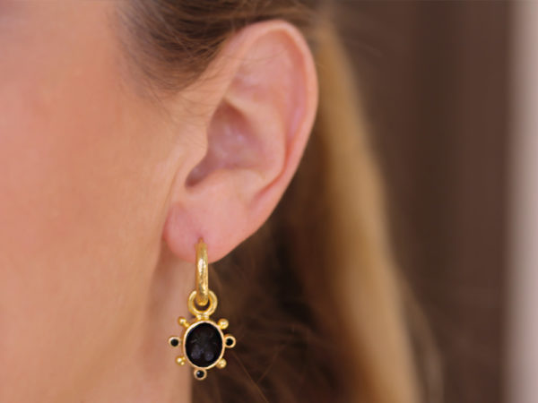 """Elizabeth Locke Black Venetian Glass Intaglio """"Mosca"""" Earring Charms With Faceted Black Spinel"""
