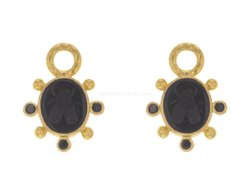 "Elizabeth Locke Black Venetian Glass Intaglio ""Mosca"" Earring Charms With Faceted Black Spinel"