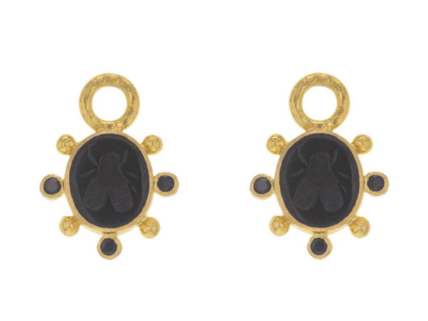 """Elizabeth Locke Black Venetian Glass Intaglio """"Mosca"""" Earring Charms With Faceted Black Spinel thumbnail"""