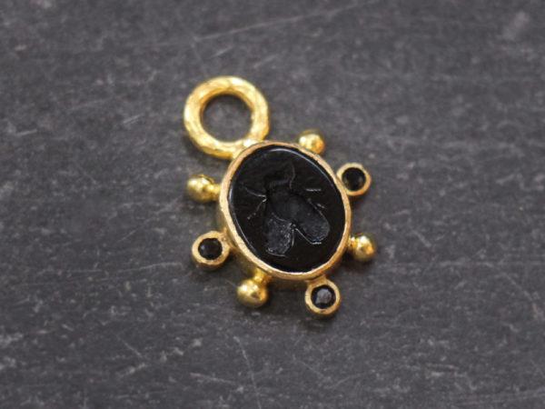 "Elizabeth Locke Black Venetian Glass Intaglio ""Mosca"" Earring Charms With Faceted Black Spinel model shot #2"