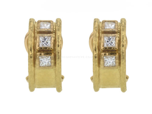 Elizabeth Locke Vertical Princess-Cut Diamond Earrings