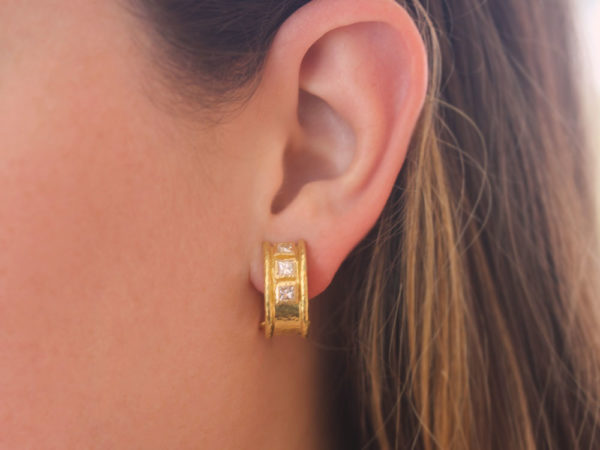 Elizabeth Locke Vertical Princess-Cut Diamond Earrings