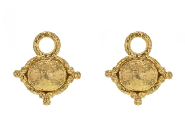 Elizabeth Locke Horizontal Gold Dome Oval Earring Charms With Three Gold Triads thumbnail