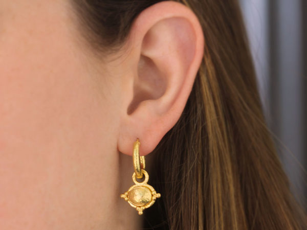 Elizabeth Locke Horizontal Gold Dome Oval Earring Charms With Three Gold Triads