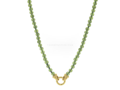 "Elizabeth Locke 35″ ""Francesca"" Clasp Necklace With 5mm Cabochon Peridot Beads"