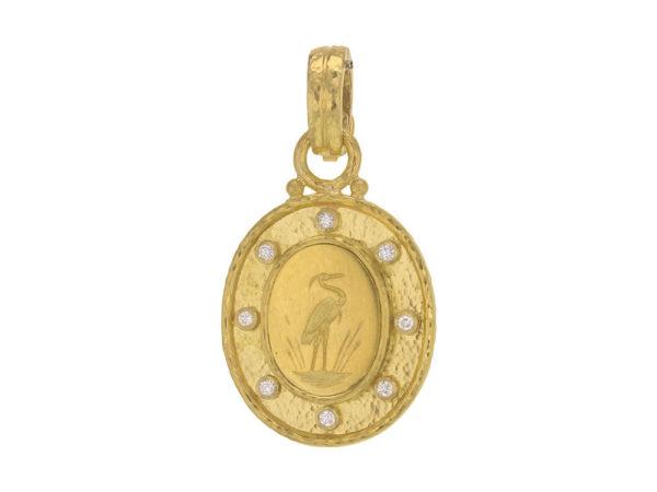 "Elizabeth Locke Gold ""Crane"" Pendant with Diamonds and Flat-Rimmed Bezel thumbnail"