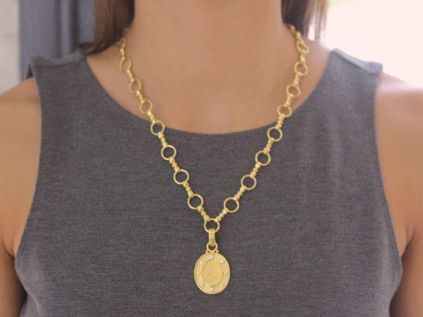 "Elizabeth Locke Gold ""Crane"" Pendant with Diamonds and Flat-Rimmed Bezel"