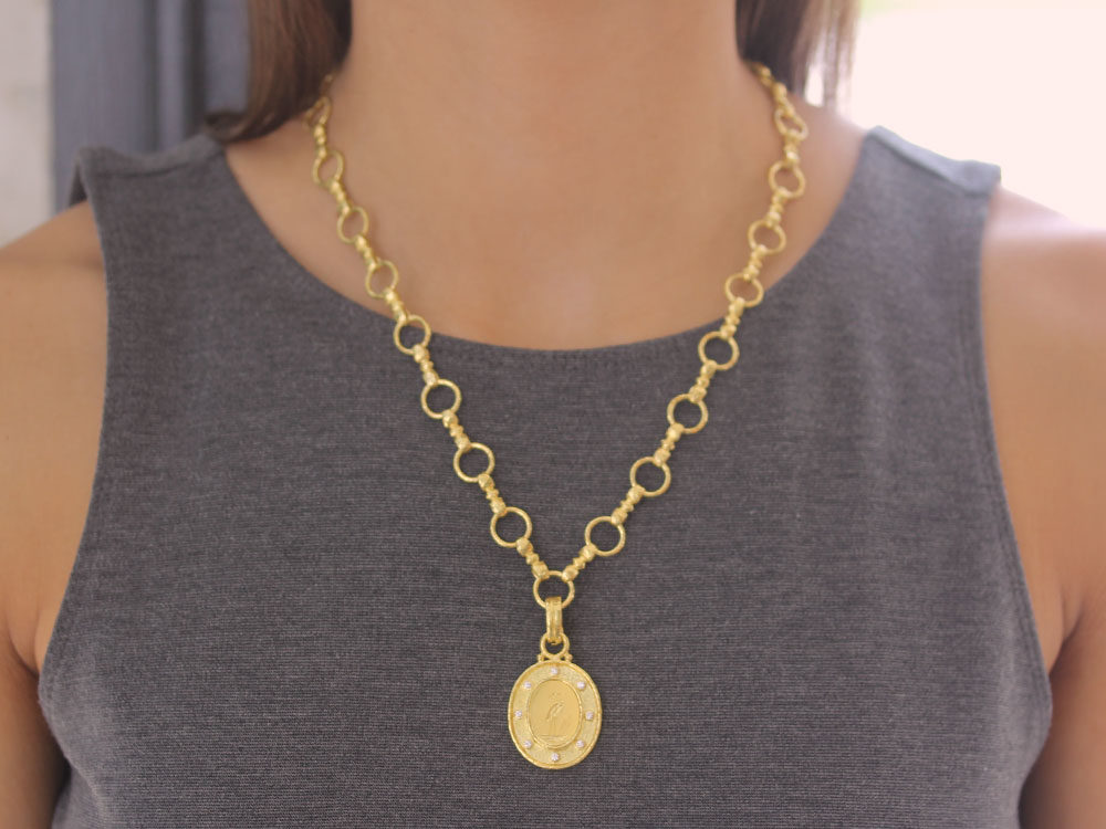 Elizabeth locke gold crane pendant with diamonds and flat rimmed bezel aloadofball Images
