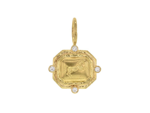"Elizabeth Locke Gold ""Octagonal Horse"" Pendant With Diamonds & Jump Ring"