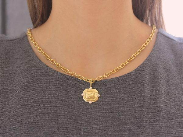 "Elizabeth Locke Gold ""Octagonal Horse"" Pendant With Diamonds & Jump Ring"