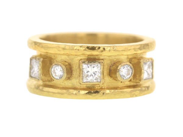 Elizabeth Locke Princess & Round Cut Diamond Alternating Ring thumbnail