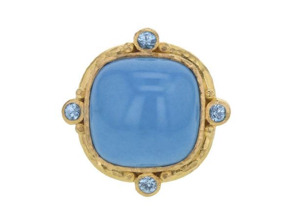 Elizabeth Locke Cushion Turquoise and Blue Zircon Ring thumbnail