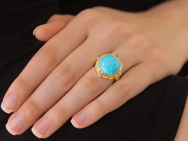 Elizabeth Locke Cushion Turquoise and Blue Zircon Ring