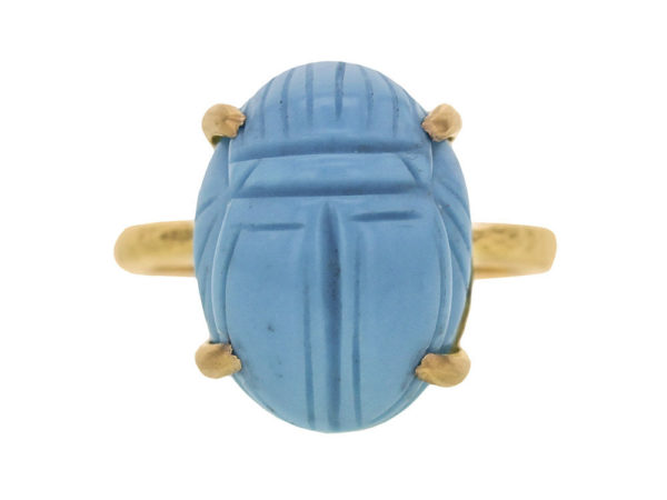 Elizabeth Locke Turquoise Scarab Ring with Hammered Prongs thumbnail