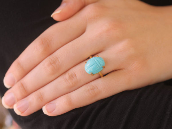 Elizabeth Locke Turquoise Scarab Ring with Hammered Prongs