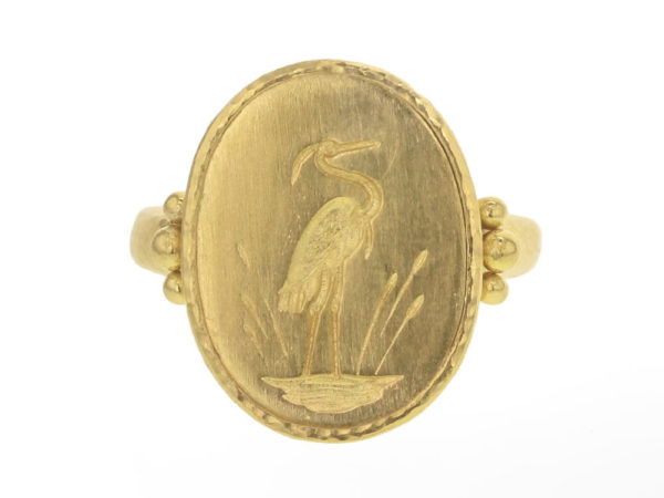 "Elizabeth Locke Vertical Oval Gold ""Crane"" Ring with Gold Triads thumbnail"