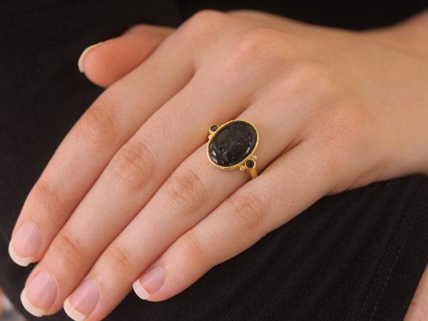 "Elizabeth Locke Vertical Oval Onyx ""Cherub with Bow"" Ring with Black Spinel"