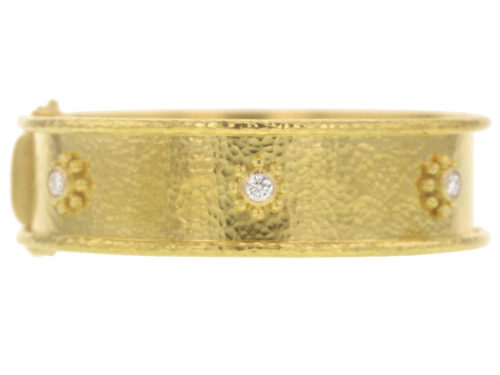 Elizabeth Locke Diamond Daisy Bangle Bracelet