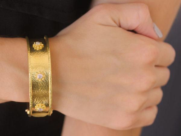 Elizabeth Locke Diamond Daisy Bangle Bracelet
