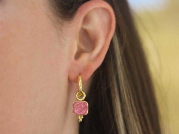 Elizabeth Locke Pink Venetian Glass Intaglio 'Pegasus, Goddess and Moon' Earring Charms