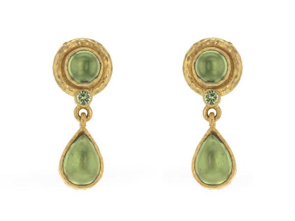 Elizabeth Locke Round & Pear Shape Peridot Drop Earrings thumbnail