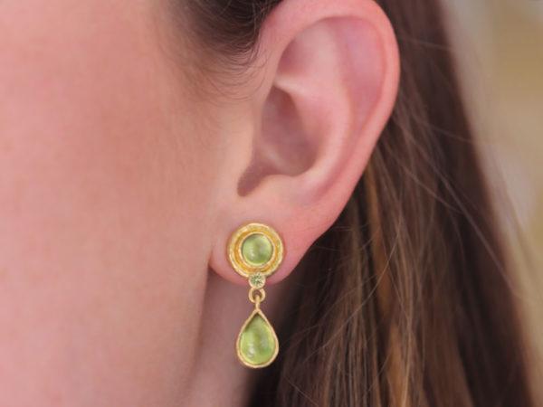Elizabeth Locke Round & Pear Shape Peridot Drop Earrings