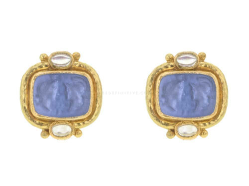 "Elizabeth Locke Cerulean Venetian Glass Intaglio ""Facing Profiles"" & Moonstone Earrings"