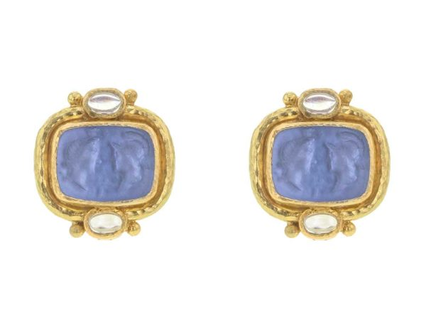"Elizabeth Locke Cerulean Venetian Glass Intaglio ""Facing Profiles"" & Moonstone Earrings thumbnail"