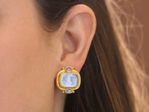"""Elizabeth Locke Cerulean Venetian Glass Intaglio """"Facing Profiles"""" & Moonstone Earrings"""