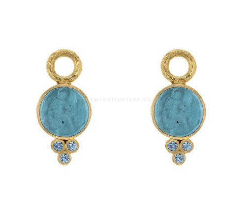 Elizabeth Locke Teal Venetian Glass Intaglio 'Round Cupid' Earring Charms