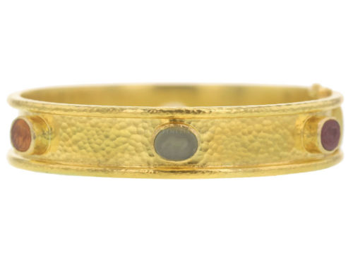 "Elizabeth Locke Neutral Fall Venetian Glass Intaglio ""Micro Horse"" Narrow Bangle Bracelet"